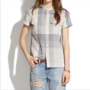 MADEWELL | Collarless Plaid Shirt Button Down Top